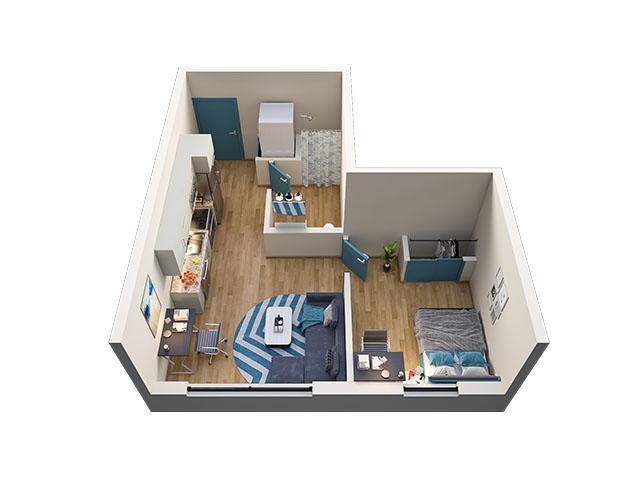 1/1 Type 1 Floor plan layout