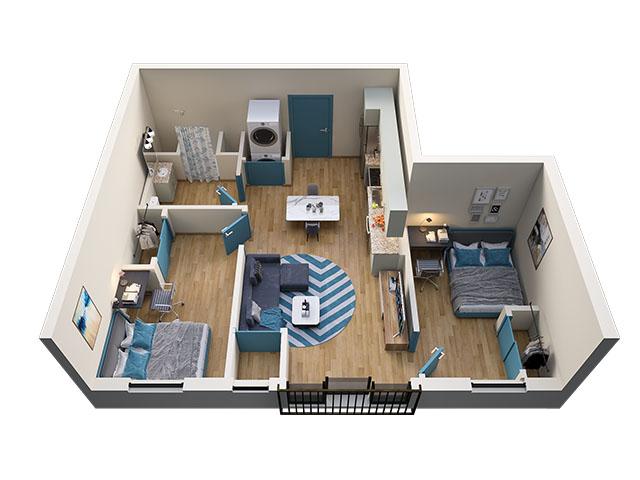 2/1 Type 1 Floor plan layout