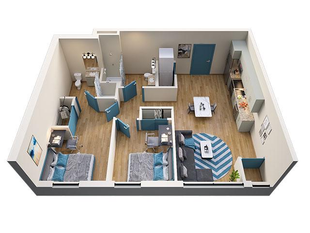 2/2 Type 1 Floor plan layout