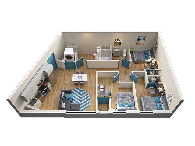 3/2 Type 1 Floor plan layout