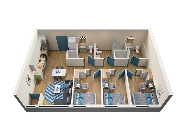 3/3 Type 1 Floor plan layout
