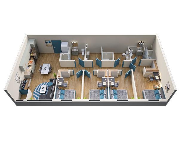4/4 Type 1 Floor plan layout