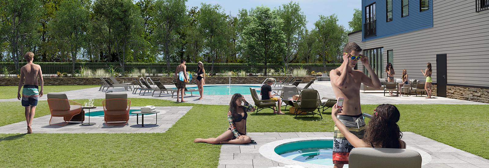 Residents Enjoying The Pool and Hot Tub Area
