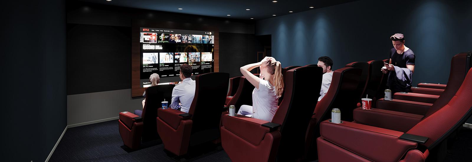 Residents Enjoying The Movie Theater Amenity