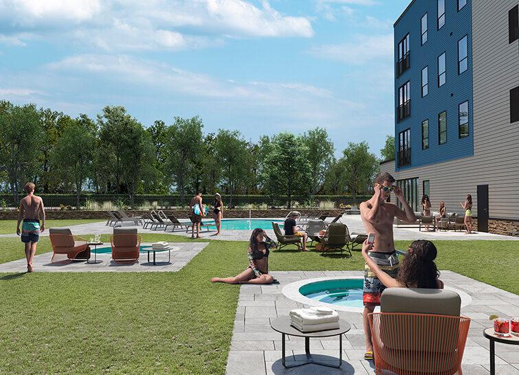 Residents Enjoying The Outdoor Pool Amenity