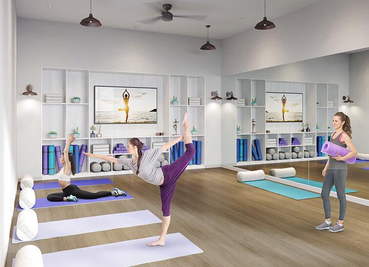 Residents Enjoying The Yoga Studio Amenity